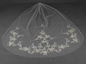 Silver and Gold Floral Embroidered Lace Ivory Cathedral Veil - Love Wedding Shop