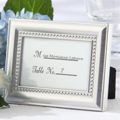 Silver Beaded Place Card Frames