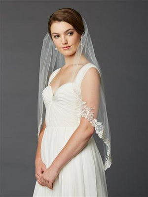 Bride Wearing Ivory Silver Lace Edge Fingertip Veil - Love Wedding Shop