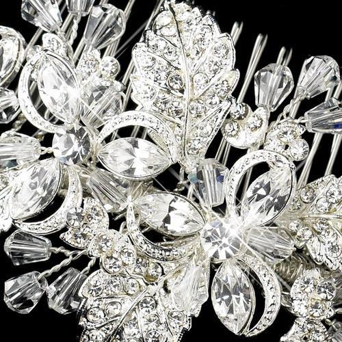 Silver Plated Rhinestone Floral Bridal Comb - Love Wedding Shop