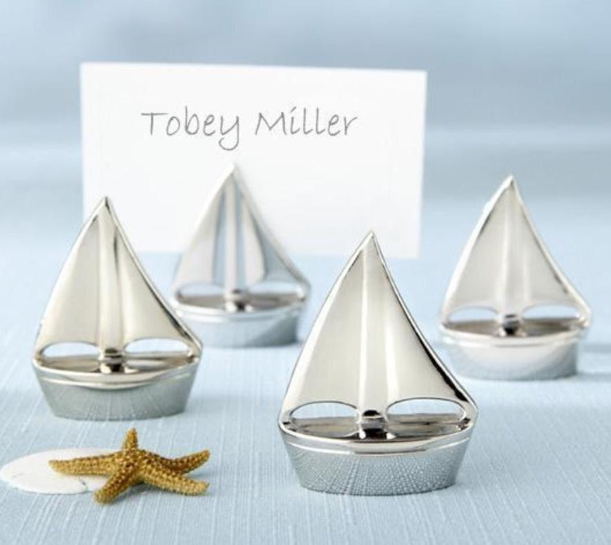 Set of 4 Silver Sailboat Place Card Holders - Love Wedding Shop