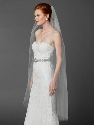 White Cut Edge Ballet Length Bridal Veil - Love Wedding Shop
