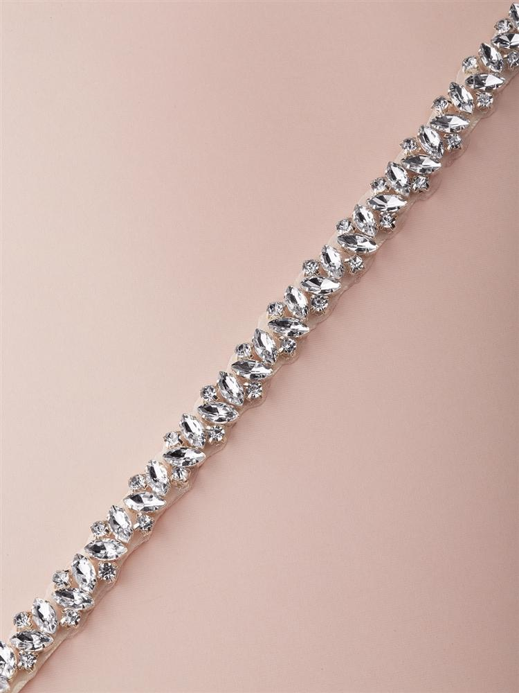 Silver Slender Austrian Crystal Bridal Belt - Love Wedding Shop