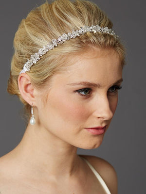 Woman Wearing Slender Crystal Cluster Headband with White Ribbons - Love Wedding Shop