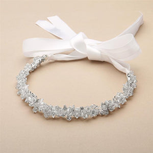 Slender Crystal Cluster Bridal Headband with White Ribbons - Love Wedding Shop