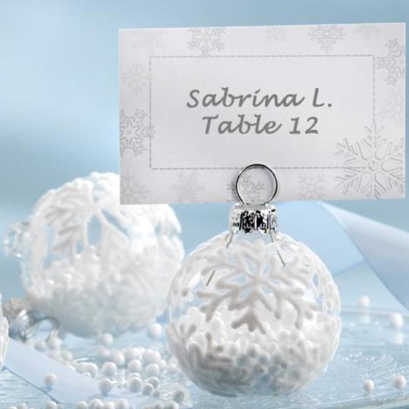 Snowflake Glass Ornament Place Card Holders - Love Wedding Shop