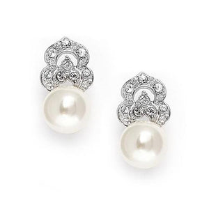 Soft Cream Pearl and Cubic Zirconia Earrings - Love Wedding Shop