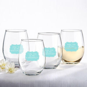 Something Blue Will You Be My Bridesmaid Stemless Glasses - Love Wedding Shop