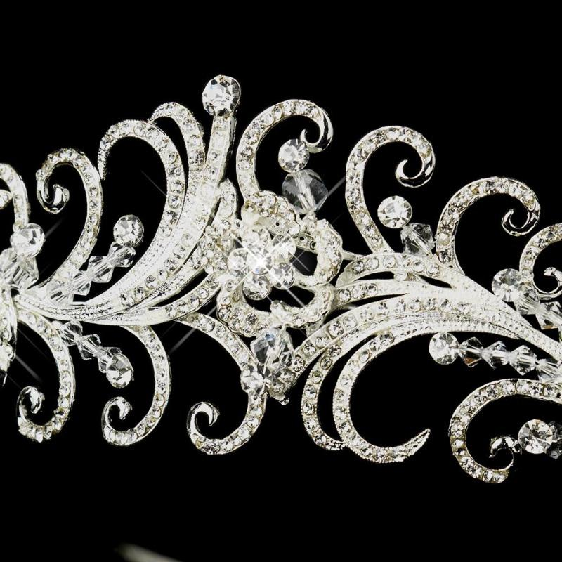 Silver Plated Rhinestone and Swarovski Crystal Swirl Wedding Tiara - Love Wedding Shop