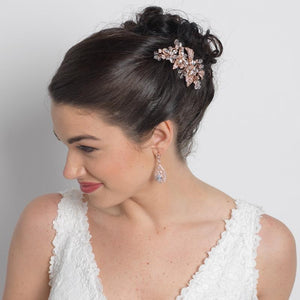 Bride Wearing Rose Gold Floral Hair Comb - Love Wedding Shop