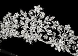 Silver Plated Swarovski Crystal and Pearl Bridal Tiara - Love Wedding Shopl