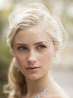 Bride Wearing French Netting Swarovski Crystal Edge Birdcage Veil - Love Wedding Shop