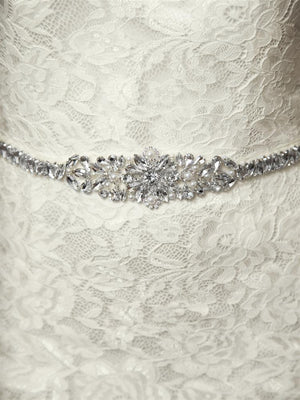 Tapered Austrian Crystal and Ivory Pearl Wedding Belt with Ivory Ribbon - Love Wedding Shop