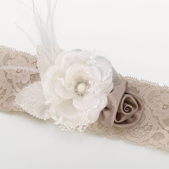 Vintage Taupe and Ivory Wide Lace Wedding Garter - Love Wedding Shop