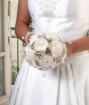 Bride holding Taupe Rose Bridal Bouquet - Love Wedding Shop