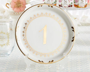 White and Gold Ceramic Vintage Plate Table Numbers - Love Wedding Shop