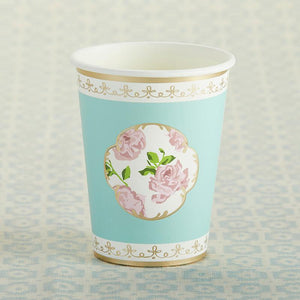 Aqua Tea Time Whimsy Paper Cups - Love Wedding Shop