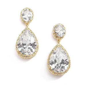 Gold-Plated Pear-Shaped Cubic Zirconia Clip-On Bridal Earrings - Love Wedding Shop