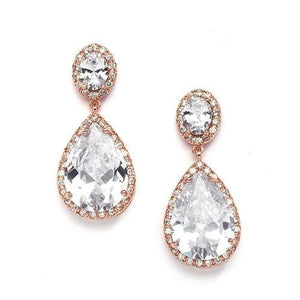 Rose Gold Cubic Zirconia Pear-Shaped Clip-On Bridal Earrings - Love Wedding Shop