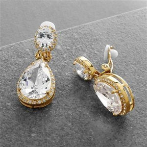 14K Gold Plated Cubic Zirconia Pear-Shaped Clip-On Bridal Earrings - Love Wedding Shop