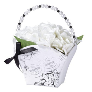 Black and White True Love Flower Girl Basket - Love Wedding Shop