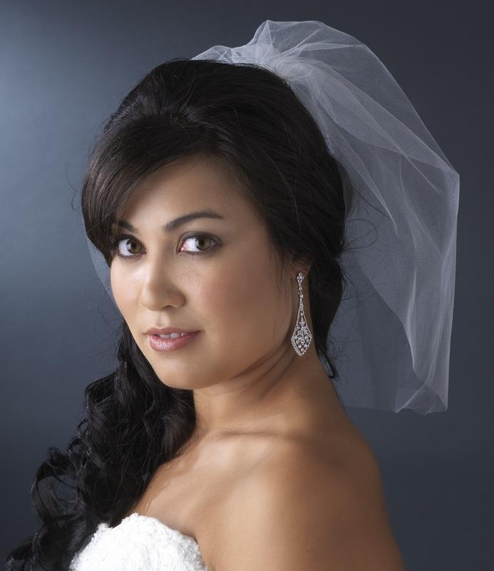Bride Wearing Tulle Birdcage Veil - Love Wedding Shop