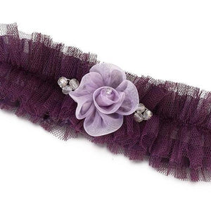 Plum Tulle Wedding Garter with Flower - Love Wedding Shop