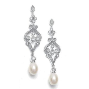 Vintage Inspired CZ and Pearl Drop Wedding Earrings - Love Wedding Shop