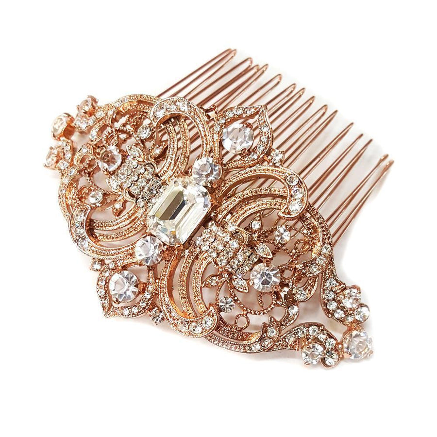 Rhinestone Vintage Inspired Rose Gold Wedding Comb - Love Wedding Shop