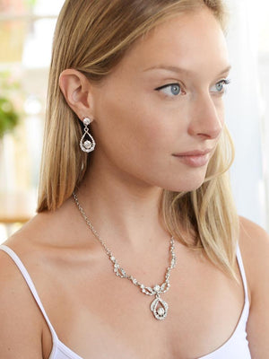 Bride Wearing Silver Plated Crystal Wedding Jewelry Set - Love Wedding Shop