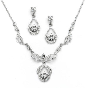 Silver Rhodium Plated Vintage-Inspired Crystal Wedding Jewelry Set - Love Wedding Shop