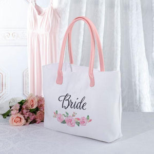 Pink and White Watercolor Floral Bride Tote Bag - Love Wedding Shop