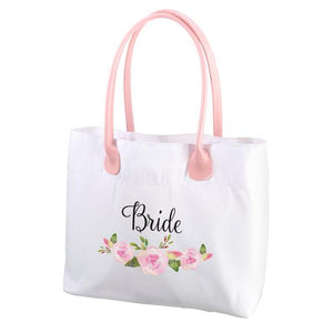 White and Pink Watercolor Floral Bride Tote Bag - Love Wedding Shop