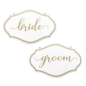 White and Gold Bride and Groom Chair Signs - Love Wedding Shop
