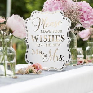 Please Leave Your Wishes for the New Mr. and Mrs. White and Gold Wedding Sign - Love Wedding Shop