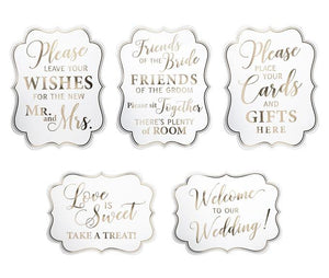 Set of 5 White and Gold Wedding Signs - Love Wedding Shop