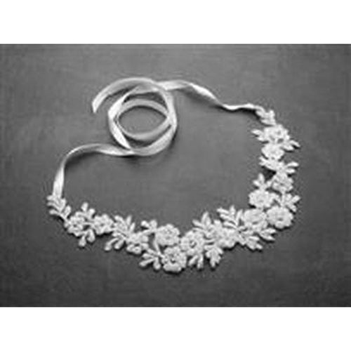 White Beaded Lace Wedding Headband with Meticulous Edging - Love Wedding Shop