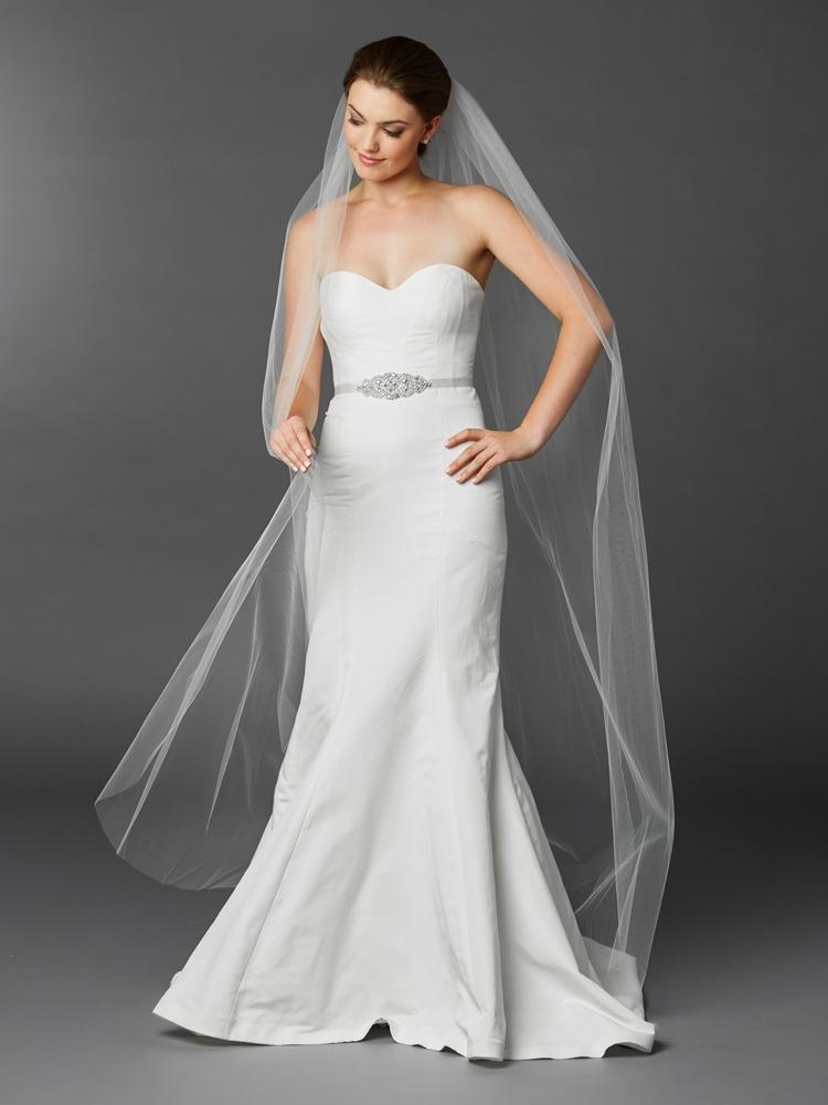 Bride Wearing White Floor Length Cut Edge Bridal Veil - Love Wedding Shop
