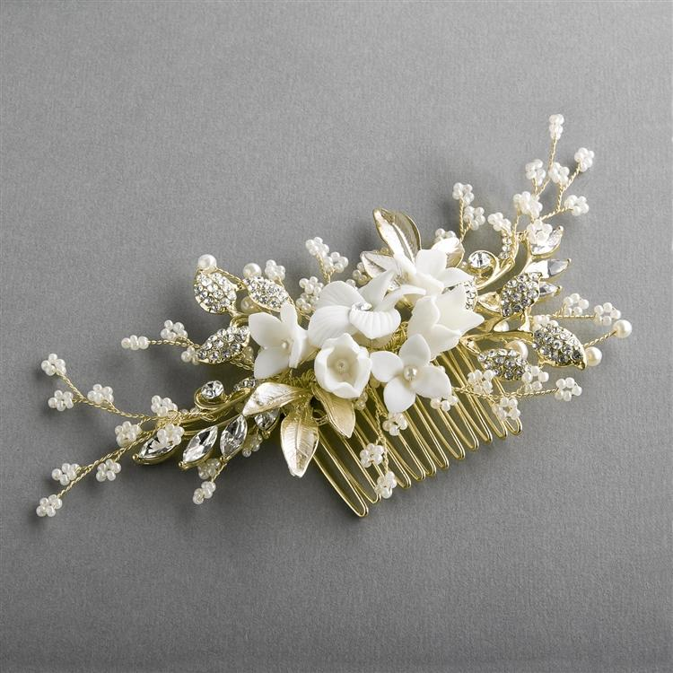 White Flower Bridal Comb with Crystals and Dainty Pearl Sprays - Love Wedding Shop
