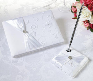 White Lace Guest Book and Pen Set - Love Wedding Shop