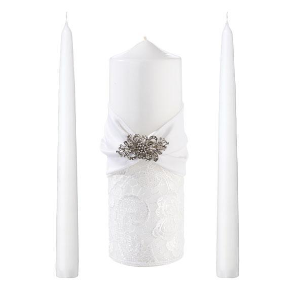 White Lace Unity Candle Set - Love Wedding Shop