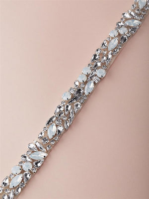 White Opal Bridal Belt with Crystals and Pearls on Ivory Ribbon - Love Wedding Shop