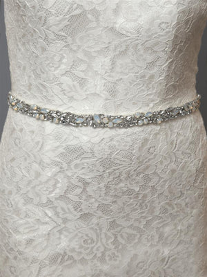 White Opal and Crystal Bridal Belt - Love Wedding Shop