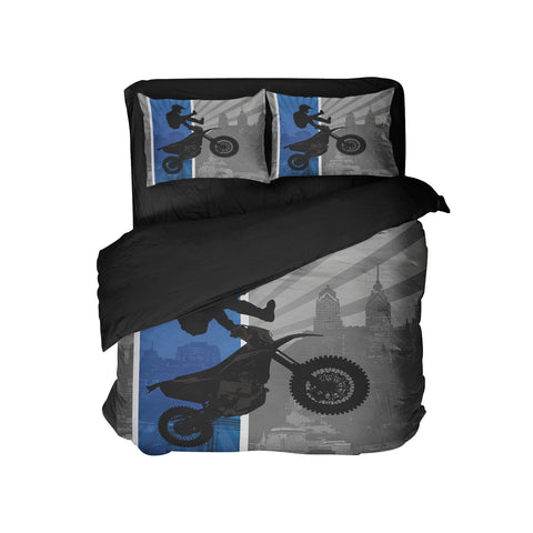 EXTREMELY STOKED BLUE MOTOCROSS BEDDING SET
