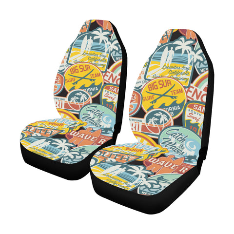 Vintage Surf Stickers Car Seat Covers