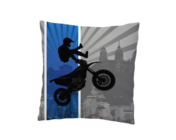 BLUE MOTOCROSS THROW PILLOW COVER FROM EXTREMELY STOKED