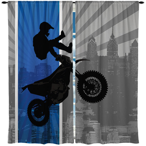 "Extremely Stoked ""Dream in Extreme"" Blue Motocross  Curtain Panels"