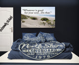 BLUE NORTH SHORE HALEIWA HAWAII SURF STYLE PILLOWCASES SHOWN ON BED