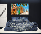 BLUE NORTH SHORE HALEIWA HAWAII PILLOWCASES SHOWN ON BED