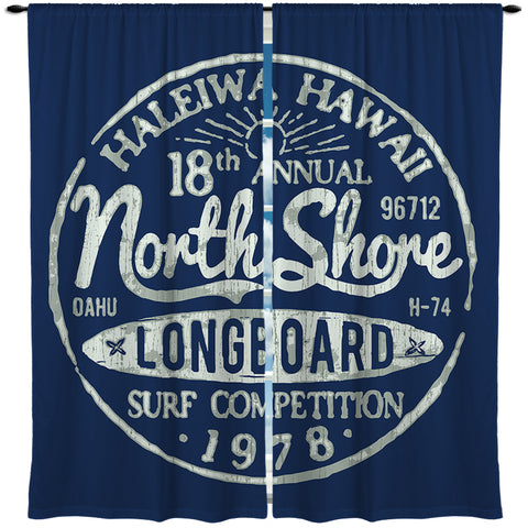 BLUE HALEIWA HAWAII NORTH SHORE CURTAINS FROM SURFER BEDDING